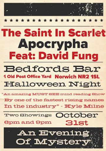 Apocrypha Halloween Show Poster at Bedfords Bar in the Crypt, Norwich