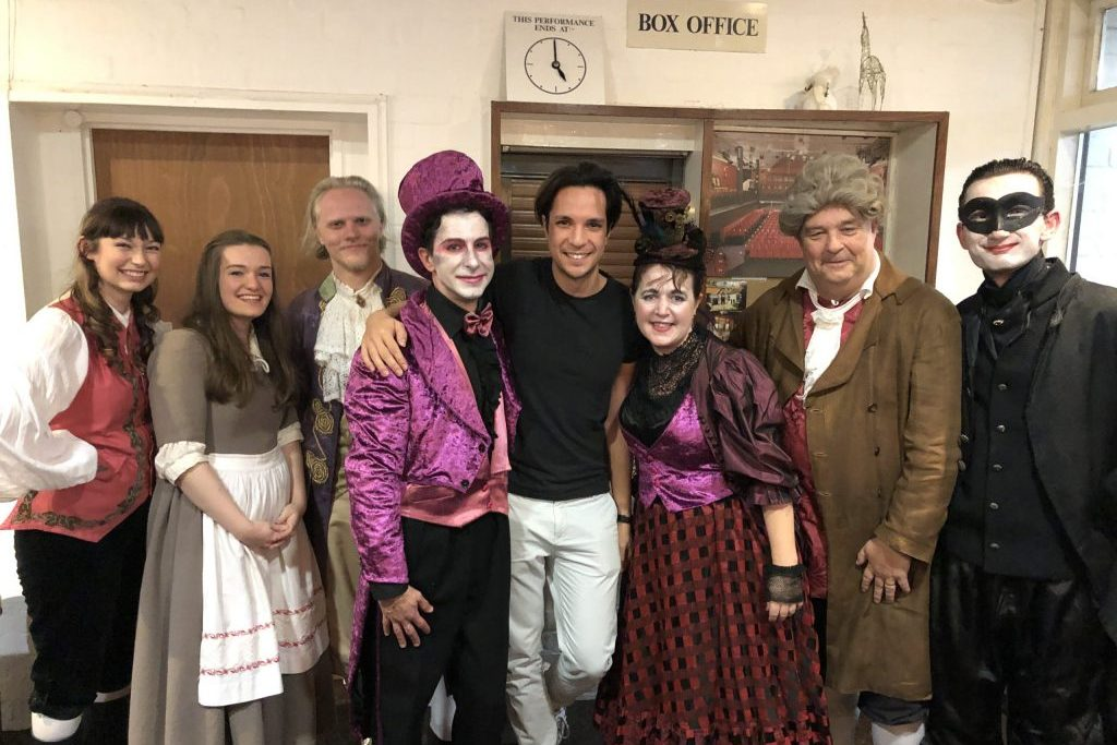 David Fung with the cast of Beauty and the Beast at the Maddermarket Theatre, Norwich